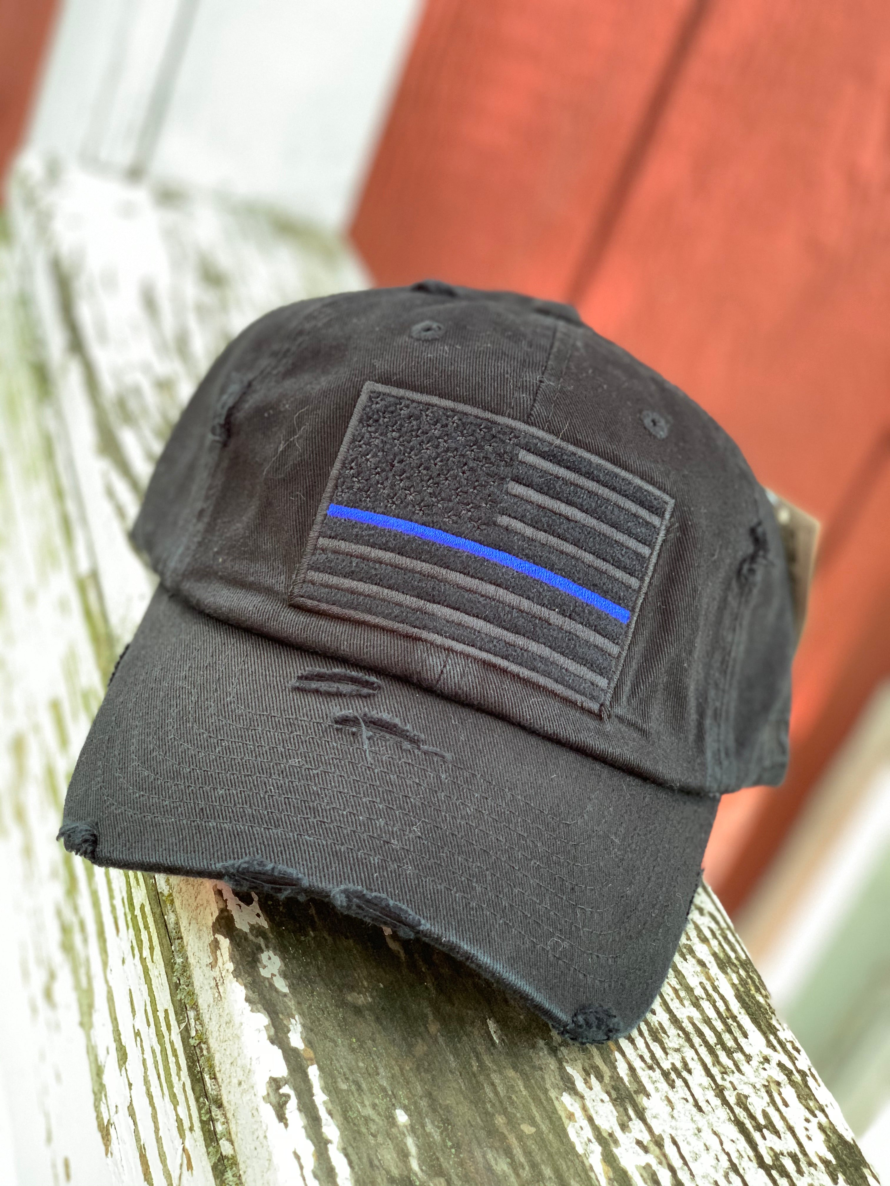 Distressed Thin Blue Line Cap