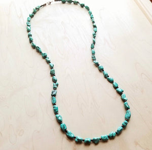 Chunky Turquoise and Wood Beaded Necklace