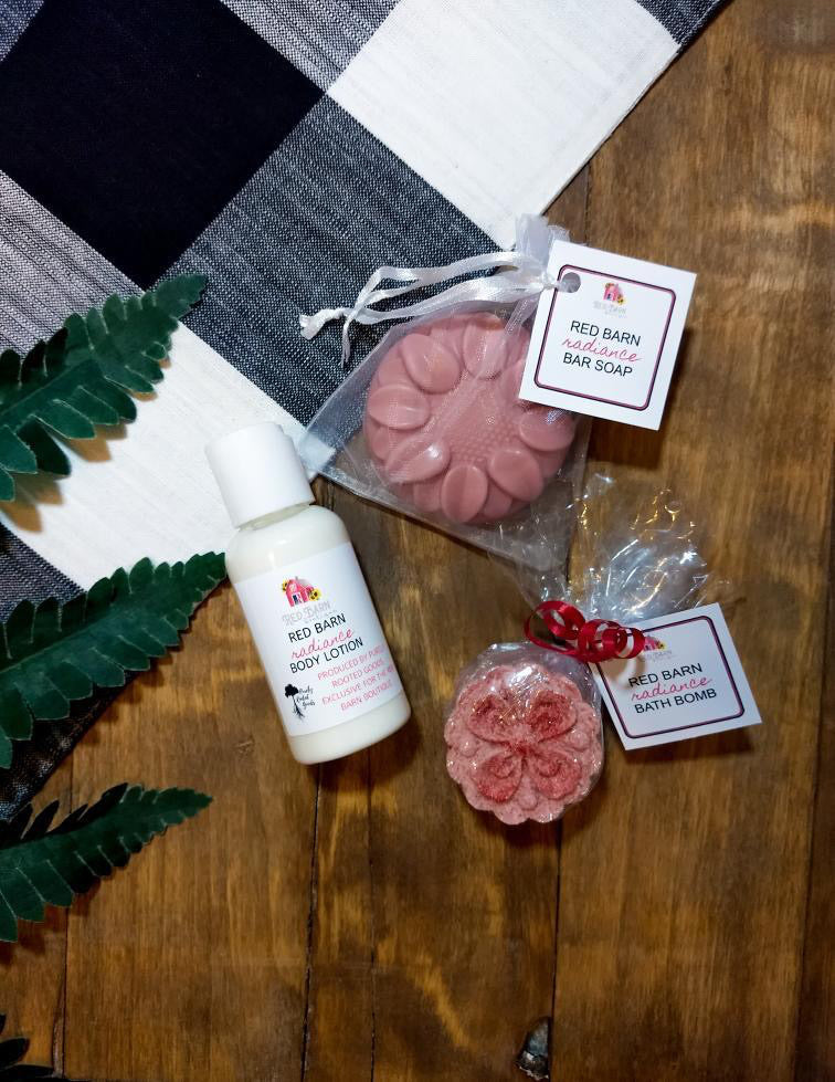 """Red Barn Radiance"" Purely Rooted Goods Bath + Body Bundle"