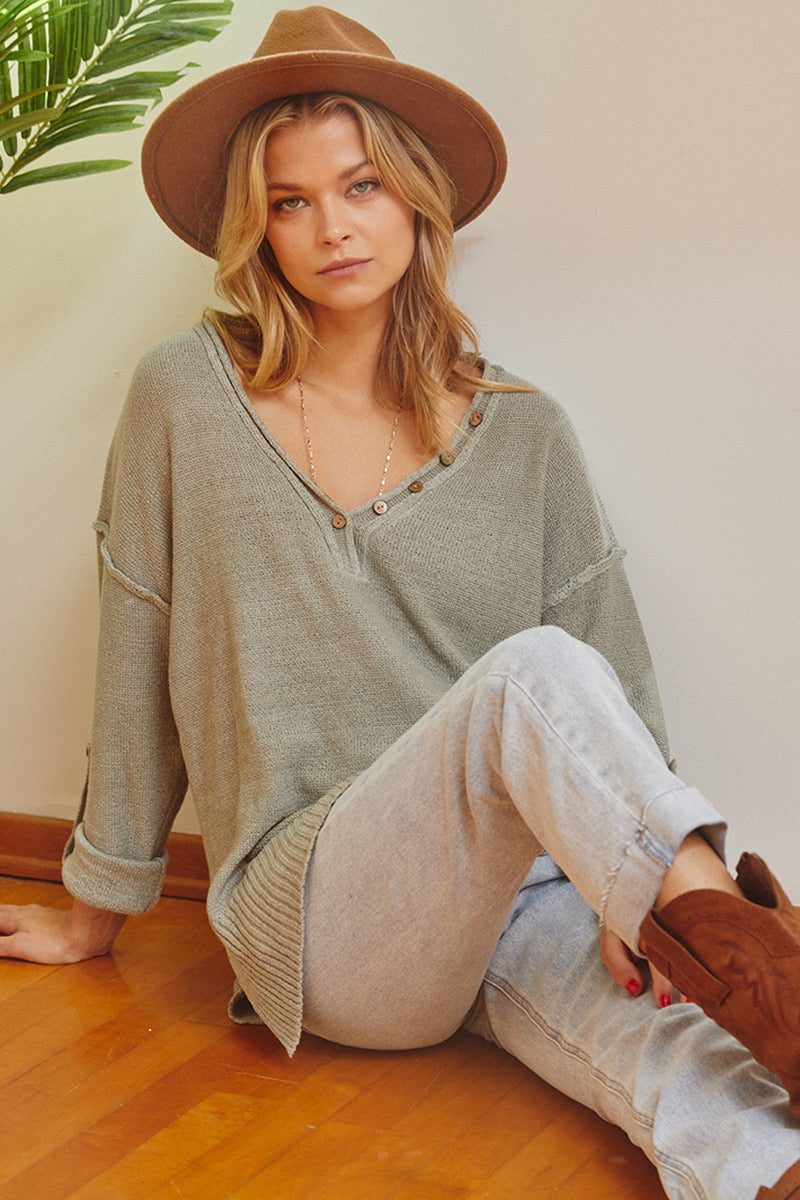 Sage Roll-Up Sleeve Solid Sweater