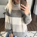 Grey Striped Turtleneck Sweater