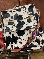 Load image into Gallery viewer, Cow Print Vegan Leather Backpack