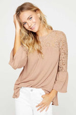 Load image into Gallery viewer, Taupe Lace Top