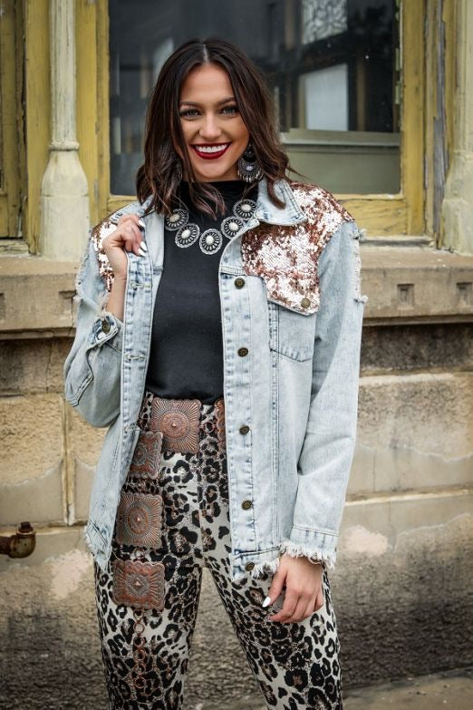 Distressed Denim Jacket with Rose Gold Sequin Detail