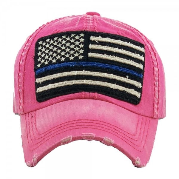 Distressed Thin Blue Line Flag Cap