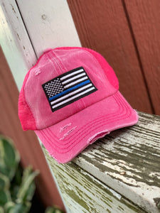 Thin Blue Line Pink Pony Cap