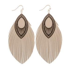Filigree Double Leather Leaf Earrings