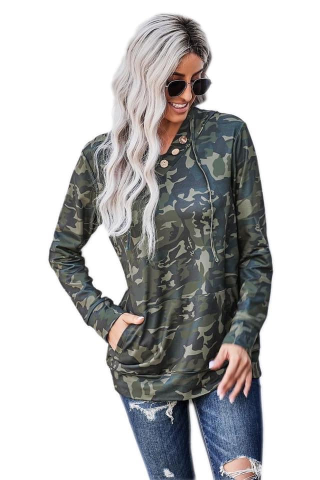 Camo Button Hoodie