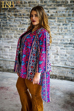 Load image into Gallery viewer, Floral Aztec Lace Kimono