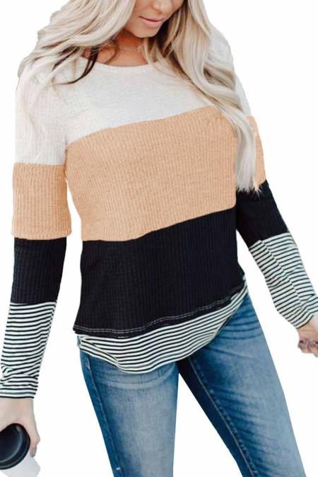 Apricot Color Block Thermal Top