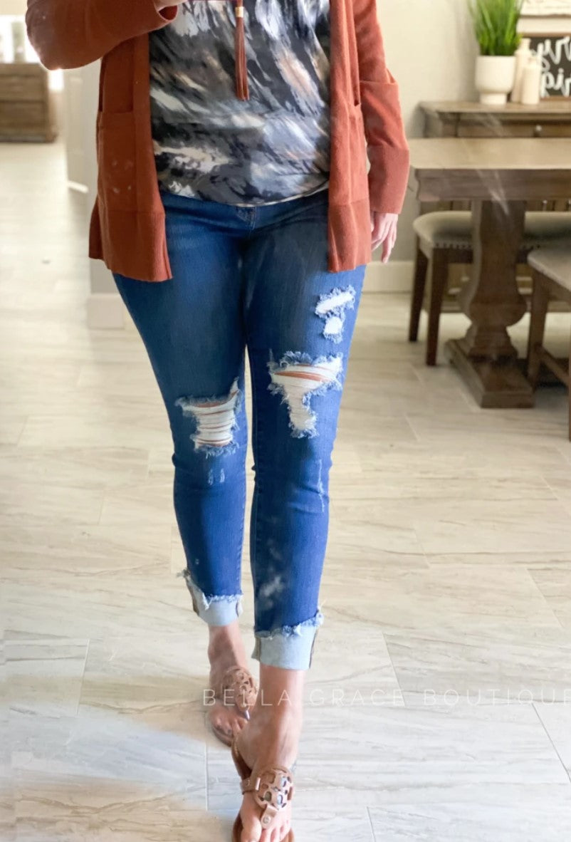 Judy Blue Mid-Rise Distressed Jeans