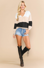 Load image into Gallery viewer, Khaki Color Block Sweater