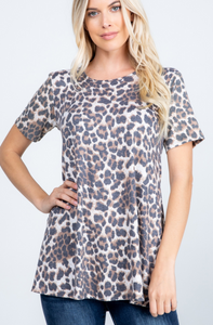 Leopard Button Back Top