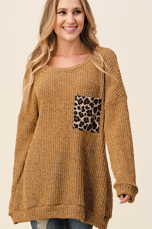 Mustard Tunic Sweater with Leopard Pocket