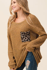 Load image into Gallery viewer, Mustard Tunic Sweater with Leopard Pocket