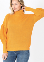 Load image into Gallery viewer, Puff Sleeve Turtleneck Sweater