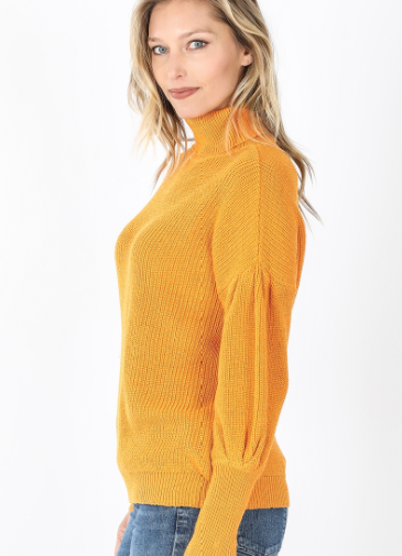 Puff Sleeve Turtleneck Sweater
