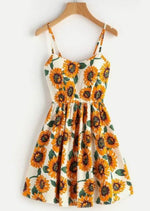 Load image into Gallery viewer, Criss-Cross Back Sunflower Sundress