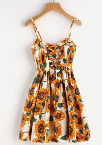 Criss-Cross Back Sunflower Sundress