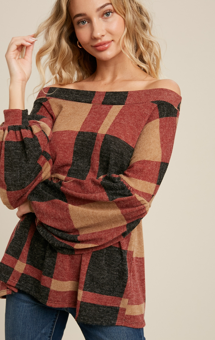 Brushed Knit Plaid Babydoll Top