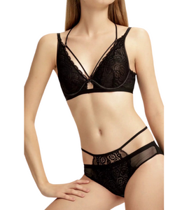Black Rose Lace & Underwired Soft Bra