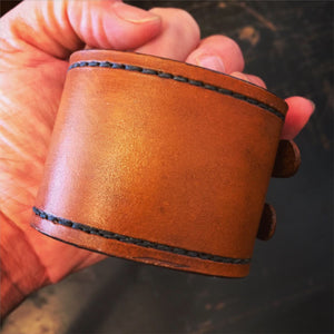 Tan Leather & Double Brass Buckle Cuff