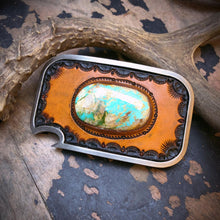 Load image into Gallery viewer, Royston Turquoise Inlay & Tooled Leather Belt Buckle