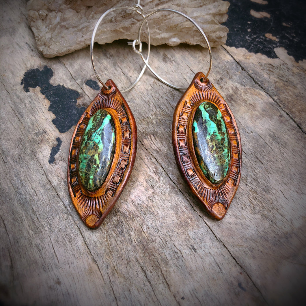 Tan Leather and Red River Turquoise Inlay Hoop Earrings