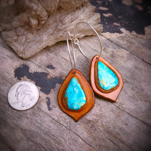 Tan Leather and Easter Blue Turquoise Inlay Hoop Earrings