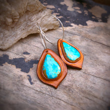 Load image into Gallery viewer, Tan Leather and Easter Blue Turquoise Inlay Hoop Earrings