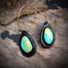 Load image into Gallery viewer, Black Leather and Kingman Turquoise Inlay 14k Gold Hoop Earrings