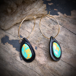 Black Leather and Kingman Turquoise Inlay 14k Gold Hoop Earrings