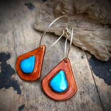 Load image into Gallery viewer, Tan Leather and Kingman Turquoise Inlay Hoop Earrings