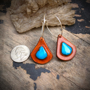 Tan Leather and Kingman Turquoise Inlay Hoop Earrings
