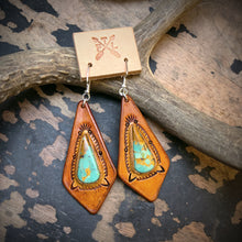Load image into Gallery viewer, Tan Leather and BajaTurquoise Inlay Earrings