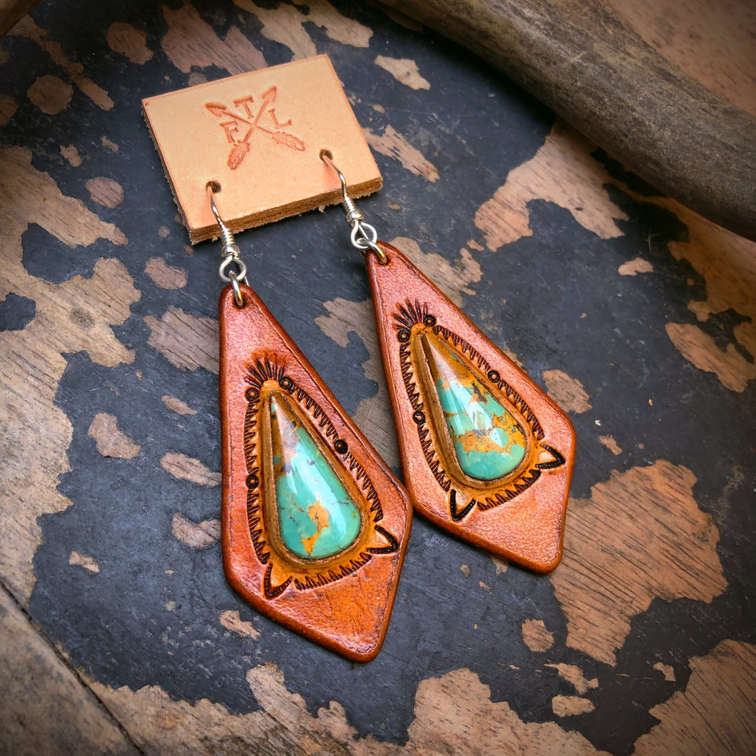 Tan Leather and BajaTurquoise Inlay Earrings