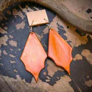 Tan Leather and Kingman Turquoise Inlay Earrings