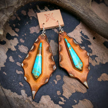 Load image into Gallery viewer, Tan Leather and Kingman Turquoise Inlay Earrings