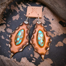Load image into Gallery viewer, Tan Leather and No. 8 Turquoise Inlay Earrings