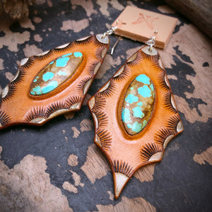 Tan Leather and No. 8 Turquoise Inlay Earrings