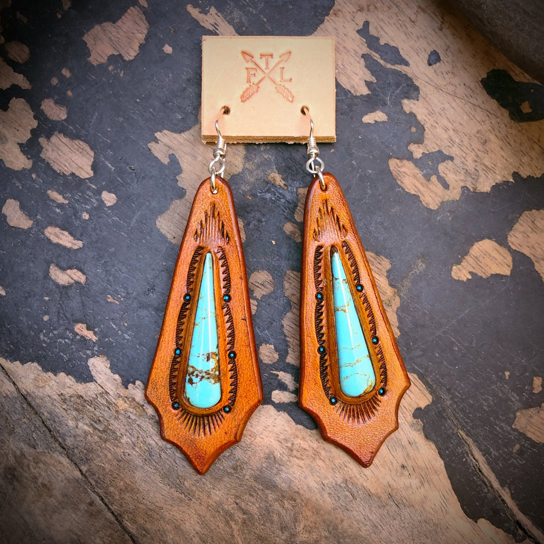 Tooled Leather and Kingman Turquoise Inlay Earrings