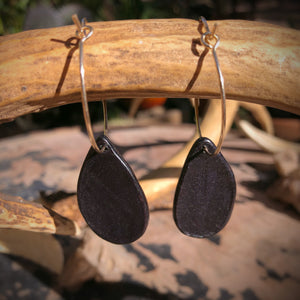 Black Leather and White Buffalo Inlay Hoop Earrings