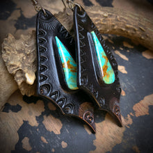 Load image into Gallery viewer, Black Leather and Kingman Turquoise Inlay Earrings
