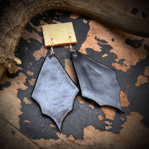 Black Leather and Kingman Turquoise Inlay Earrings