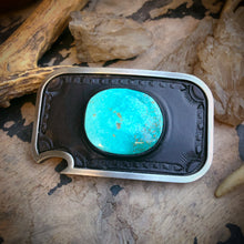 Load image into Gallery viewer, Kingman Turquoise Inlay & Tooled Leather Belt Buckle