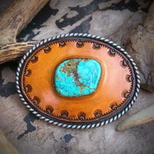 Load image into Gallery viewer, Hubei Turquoise Inlay & Tooled Leather Belt Buckle