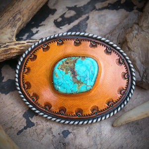 Hubei Turquoise Inlay & Tooled Leather Belt Buckle