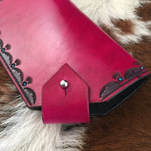 Magenta Tooled Leather Eyewear Case