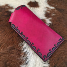 Load image into Gallery viewer, Magenta Tooled Leather Eyewear Case