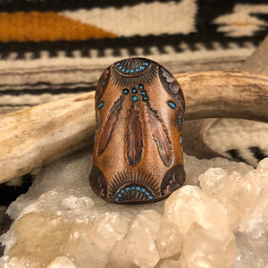 Tooled Leather Feathers Ring 9